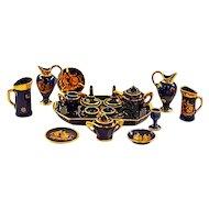 Vintage Limoges Transferware Porcelain Miniature 17-Piece Tea Set