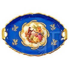 Limoges Vintage Fragonard Transferware Miniature Serving Tray Rare Blue