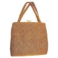One Gorgeous Walborg Made In Belgium Bronze Fully Seed Beaded Handbag