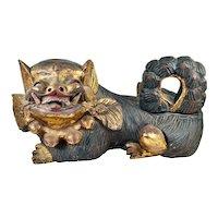 Vintage Japanese Large Hand Carved Komainu Figure