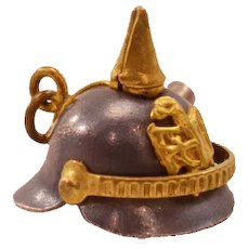 "Rare, Unusual Vintage ""Pickelhaube"" Helmet Charm -With Bullet!"