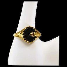 Lovely Vintage 9K Gold and Onyx Ring with Garnet Snake Eyes Fully Hallmarked