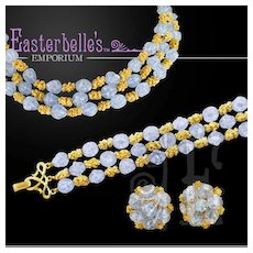ca 1940s Crown Trifari Blue & Gold Tone Parure Set with Orig Tags and Case