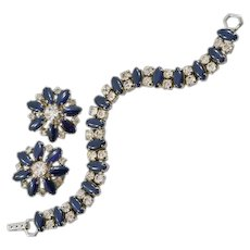 Sophisticated Vintage Bracelet and Earring Set with Blue Rhinestones