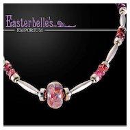 Pink Tourmaline, Art Glass, and Sterling Silver OOAK Davison Necklace