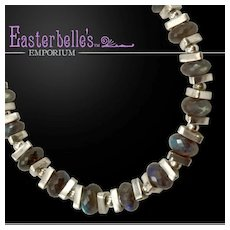 OOAK Davison Statement Necklace with Sterling Silver and Labradorite