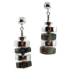 Delicious OOAK Davison Artisan Labradorite and Sterling Silver Earrings