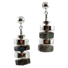 Delicious OOAK Davison Artisan Labradorite and Sterling Silver Earrings