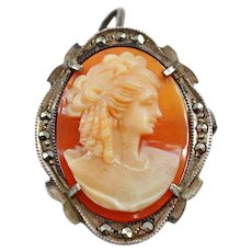 Beautiful Anonymous Victorian Woman Cameo Brooch Pendant .800 Silver and Marcasite