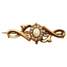 Antique 14K Gold-Plated Brooch with Syn Opal and Pearls