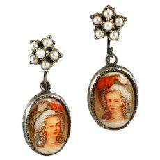 Darling Vintage Porcelain Marie Antoinette Earrings