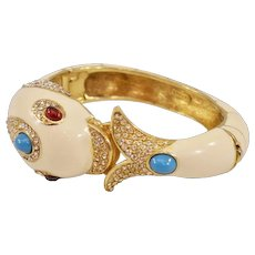 Gorgeous, Rare Signed Ciner Enamel and Rhinestones Dolphin Clamper