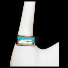 Sexy Southwestern Vintage Sterling Ring With Turquoise and MOP