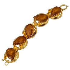 Glorious Gold-tone Big and Chunky Vintage Bracelet With HUGE Rhinestones
