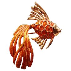 Rare and Beautiful Boucher Vintage Orange Enameled Fish Brooch - Bold