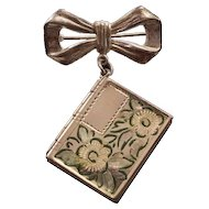 """Darling Vintage """"Bow and Book"""" Sterling Silver and Enameled Locket"""