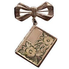 "Darling Vintage ""Bow and Book"" Sterling Silver and Enameled Locket"