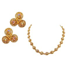 High-Drama Vintage Coro Necklace and Earrings Set With Sparkly AB Rhinestones
