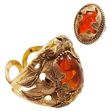 Stunning Whiting & Davis Vintage Ring and Clamper Bracelet Set - Big and Bold!
