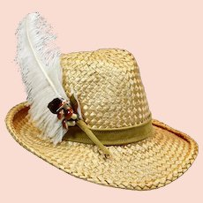 Vintage Straw & Feather Mr. John Hat with Decorative Mushrooms