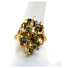 Incredible 14K Solid Gold Ring With 6 Brilliant Emeralds