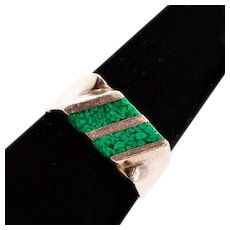Boho-Chic Sterling Silver Vintage Taxco Ring With Chip Turquoise Inlay