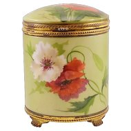 """RARE and Beautiful Antique Porcelain Pairpoint """"Poppies"""" Humidor"""
