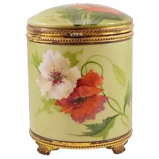 "RARE and Beautiful Antique Porcelain Pairpoint ""Poppies"" Humidor"