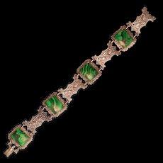 Super-Unique Vintage .800 Silver Bracelet With Gorgeous Green Enamel
