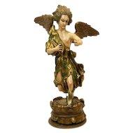 Masterpiece Italian Vintage Carved Wood and Plaster Angel LARGE Statue - Italian