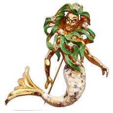 Rare Hattie Carnegie Enameled Mermaid Brooch ca 1960