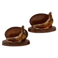 Vintage Bronze-Clad Spelter Seal Bookends