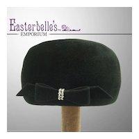 Glamorous 1940s Beaver Fur Hat with Rhinestone Buckle