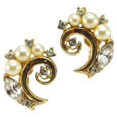 Rhinestoned and Faux Pearl Crown Trifari Earrings