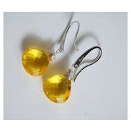 Gemstone Yellow Quartz Dangle Drop sterling silver Earrings