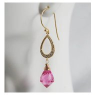 Gorgeous Hot Pink Quartz Dangle Drop Earrings