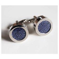 Men's Stingray Cuff links - Men's jewelry- Men's Cuff links- Photo Cuff Links- Dark Blue Stingray Cuff links - Men's accessories