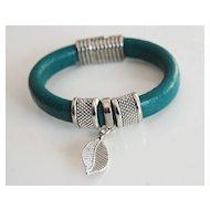 Teal Green Licorice Leather Bracelet- Bangle bracelet- Leaf charm Bracelet - Cuff Bracelets