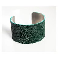 Stingray Bracelet - Dark Forest Green Genuine Stingray Leather Cuff Bracelet - Cuff Bracelet- Leather Bracelet