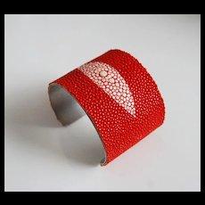 "Stingray Bracelet -Orange Genuine Stingray Leather Cuff Bracelet -2"" Cuff Bracelet- Leather Bracelet"