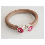 Rustic Putty Colored Licorice Leather Bracelet-Bangle bracelet- Memory wire Bracelet With Rose Swarovski Crystal