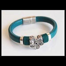 Teal Green Licorice Leather And Flower Slider -Green O ring Bracelet- Bangle bracelet- - Cuff Bracelets
