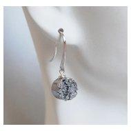 Silver Titanium Druzy Quartz Dangle Drop Earrings - Mother's Day