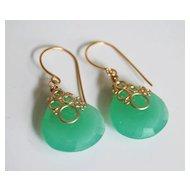 Chryso Chalcedony Quartz Dangle Drop Earrings