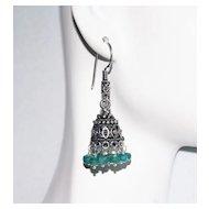 Chandelier Earrings - Emerald Chandelier Earrings - Jhumka Earrings- May Birthstone Earrings