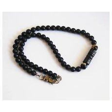 Men's Necklace - Men's Jewelry - Matte black Onyx - Agate -Wood Bead Necklace- Beaded Necklace- Unisex Necklace