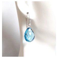 London Blue Quartz Earrings- Mother's Day Jewelry- Mother's Day Earrings-Wedding Jewelry-Bridal Accessories-Blue Dangle Drop Earrings