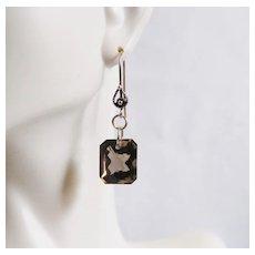 Gorgeous 24.05 ct Emerald Cut Smoky Quartz Dangle Drop Earrings - Wedding Jewelry- Bridal accessories- Fine Jewelry -Smoky Quartz Earrings