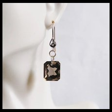 Gorgeous 24.05 ct Emerald Cut Smoky Quartz Dangle Drop Earrings - Wedding Jewelry- Bridal accessories- Fine Jewelry -Smoky Quartz Earrings