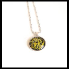 Nail polish jewelry-mother's day Necklace -Yellow And Black jewelry- pendant necklace-Crackle Nail Polish pendant-Summer necklace